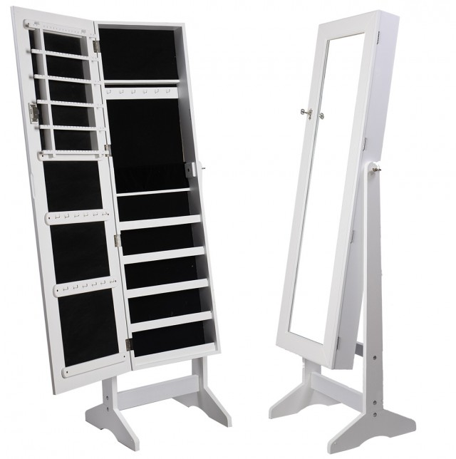 Stand Up Jewelry Armoire With Mirror