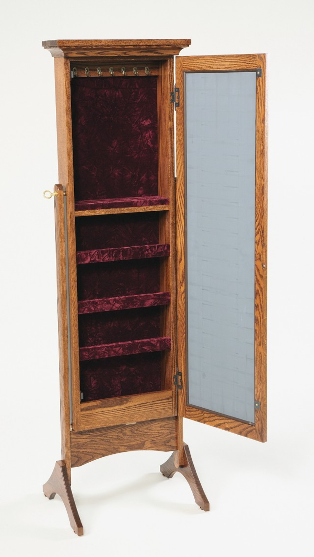 Standing Jewelry Armoire With Mirror
