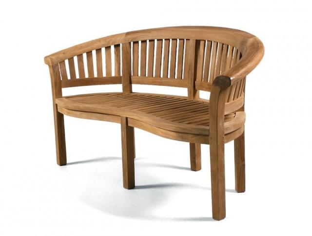 Teak Garden Bench Curved Back