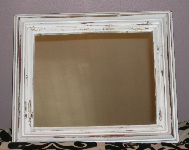 White Distressed Wood Mirror