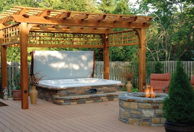 Backyard Deck Designs Hot Tub
