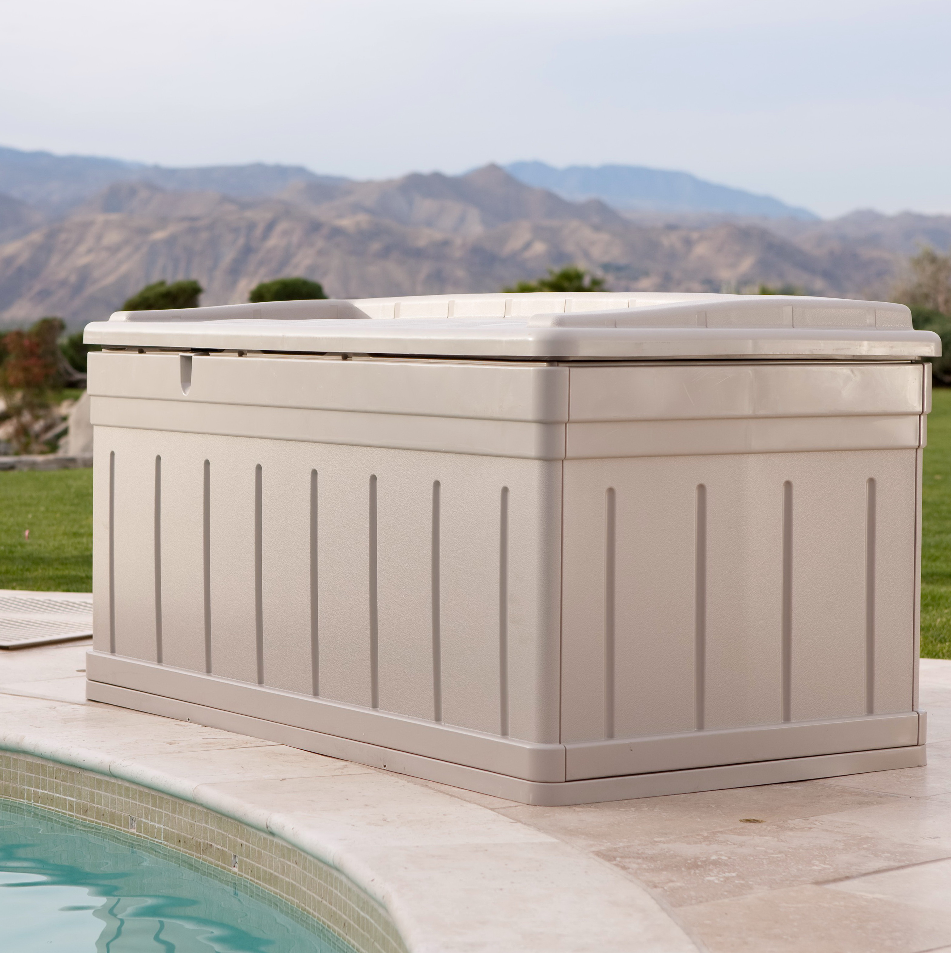 Suncast Deck Box With Seat Taupe 50 Gallon