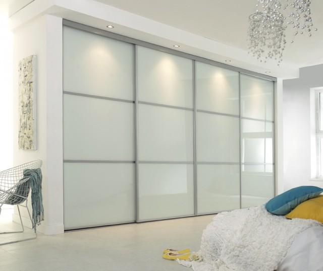 White Glass Closet Doors