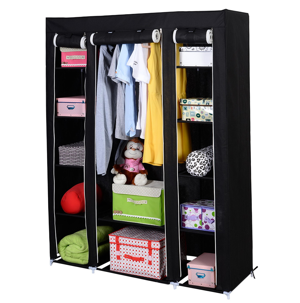 Portable Closet Storage Organizer Wardrobe Clothes Rack With Shelves