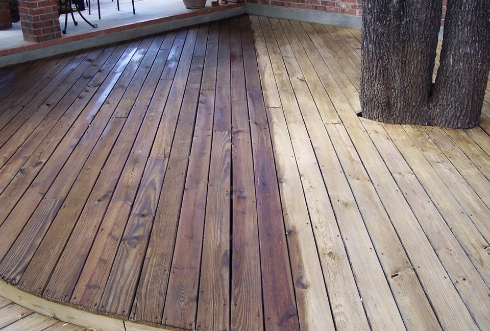 Staining A Deck Before And After