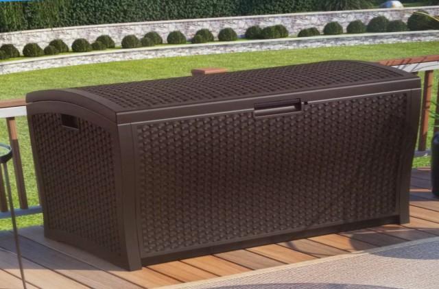 Suncast Resin Wicker Deck Box 73 Gallon
