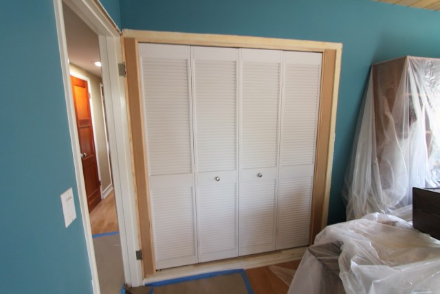White Louvered Sliding Closet Doors