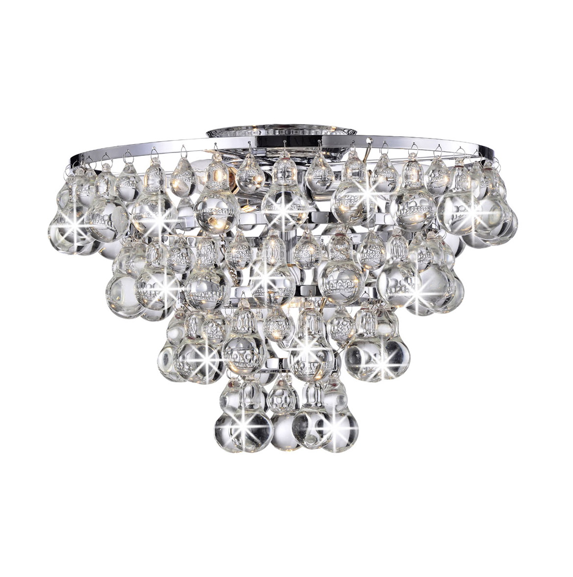Antique Flush Mount Crystal Chandelier