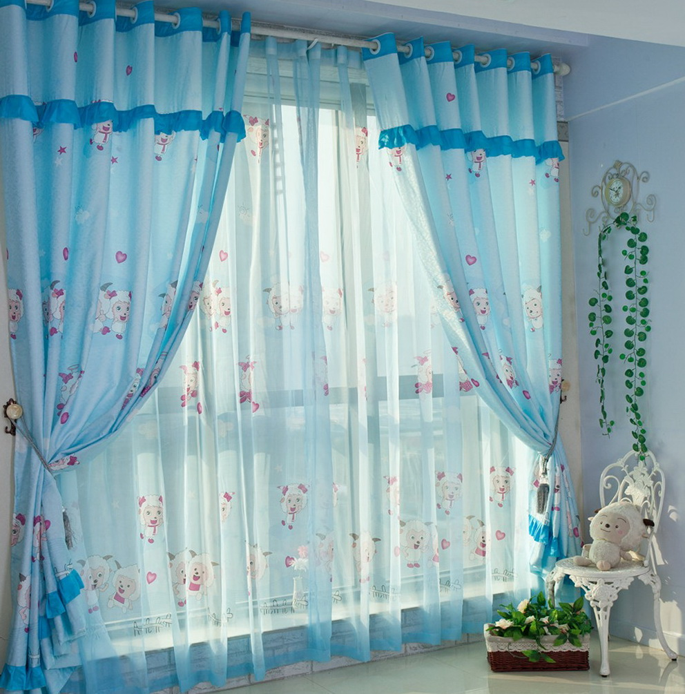 Baby Blue And White Curtains