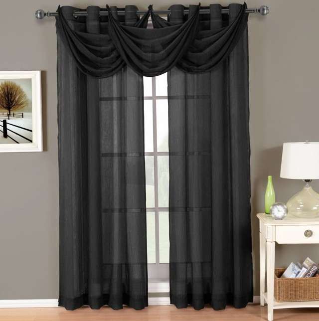 Black Sheer Curtain Panels