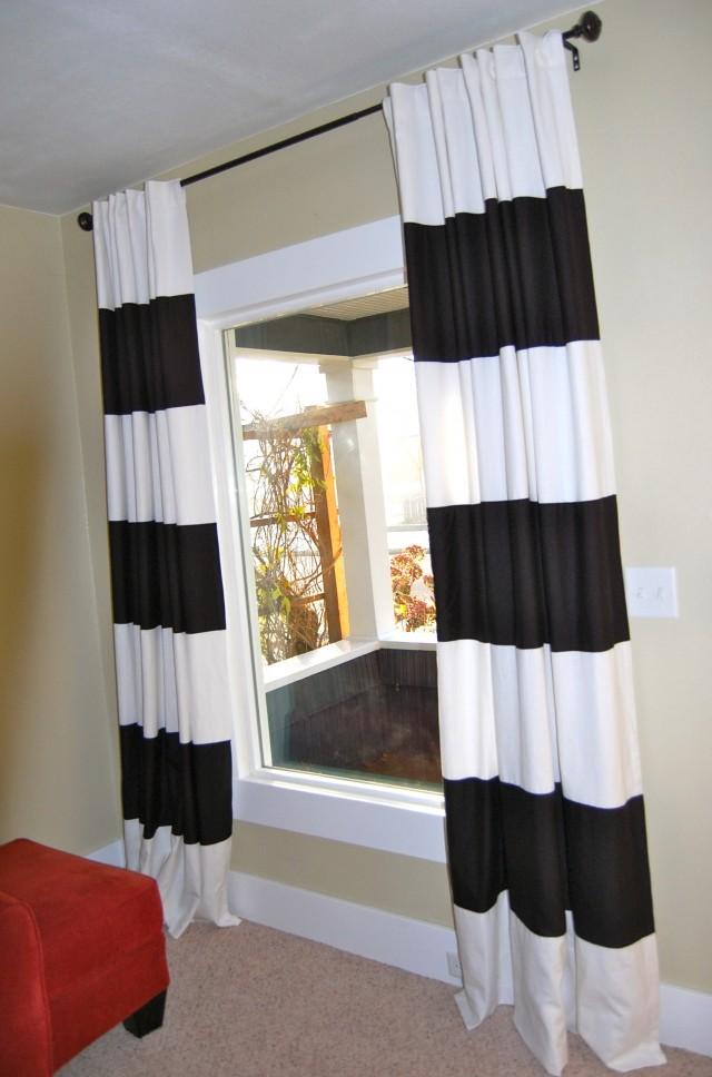 Black White Horizontal Striped Curtains