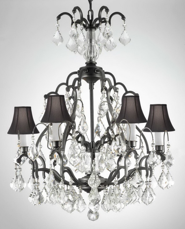 Black Wrought Iron Chandelier With Shades