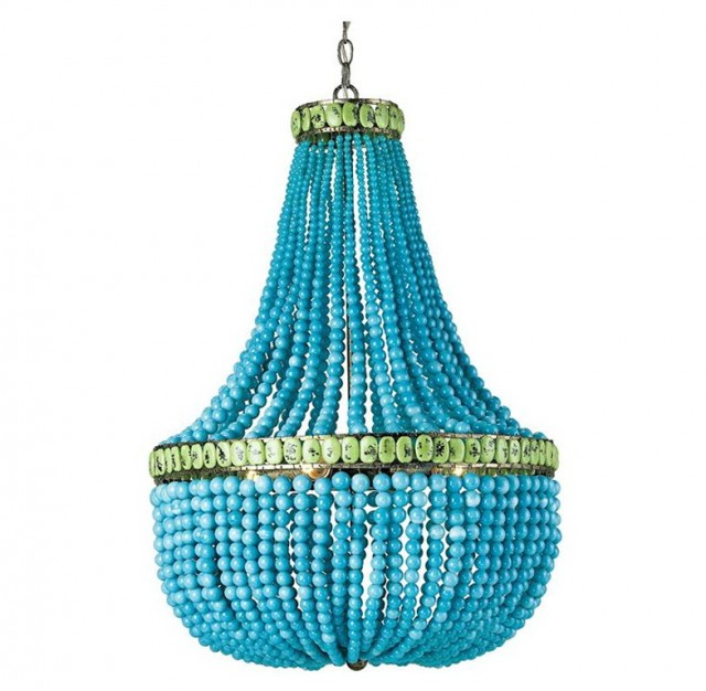 Blue Beaded Chandelier Light