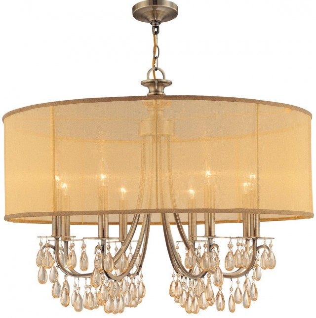 Bronze Chandelier With Drum Shade