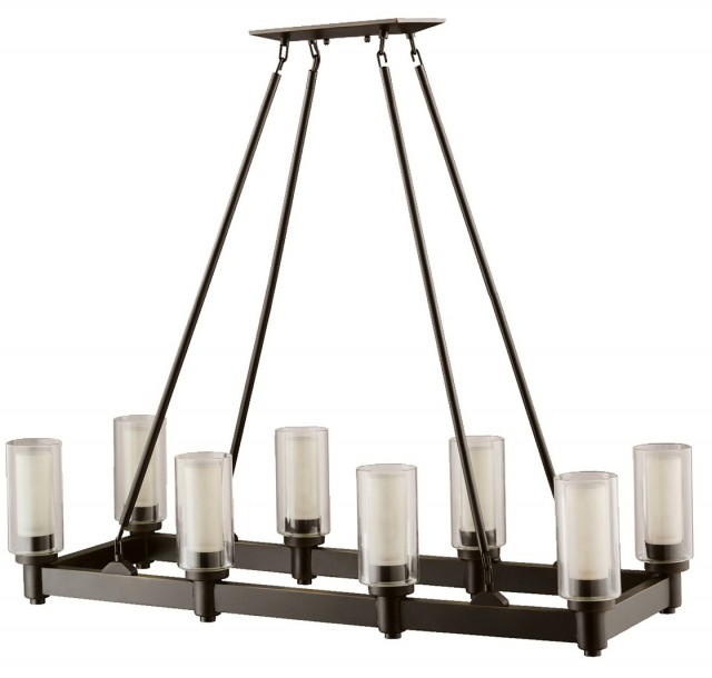 Bronze Rectangular Crystal Chandelier