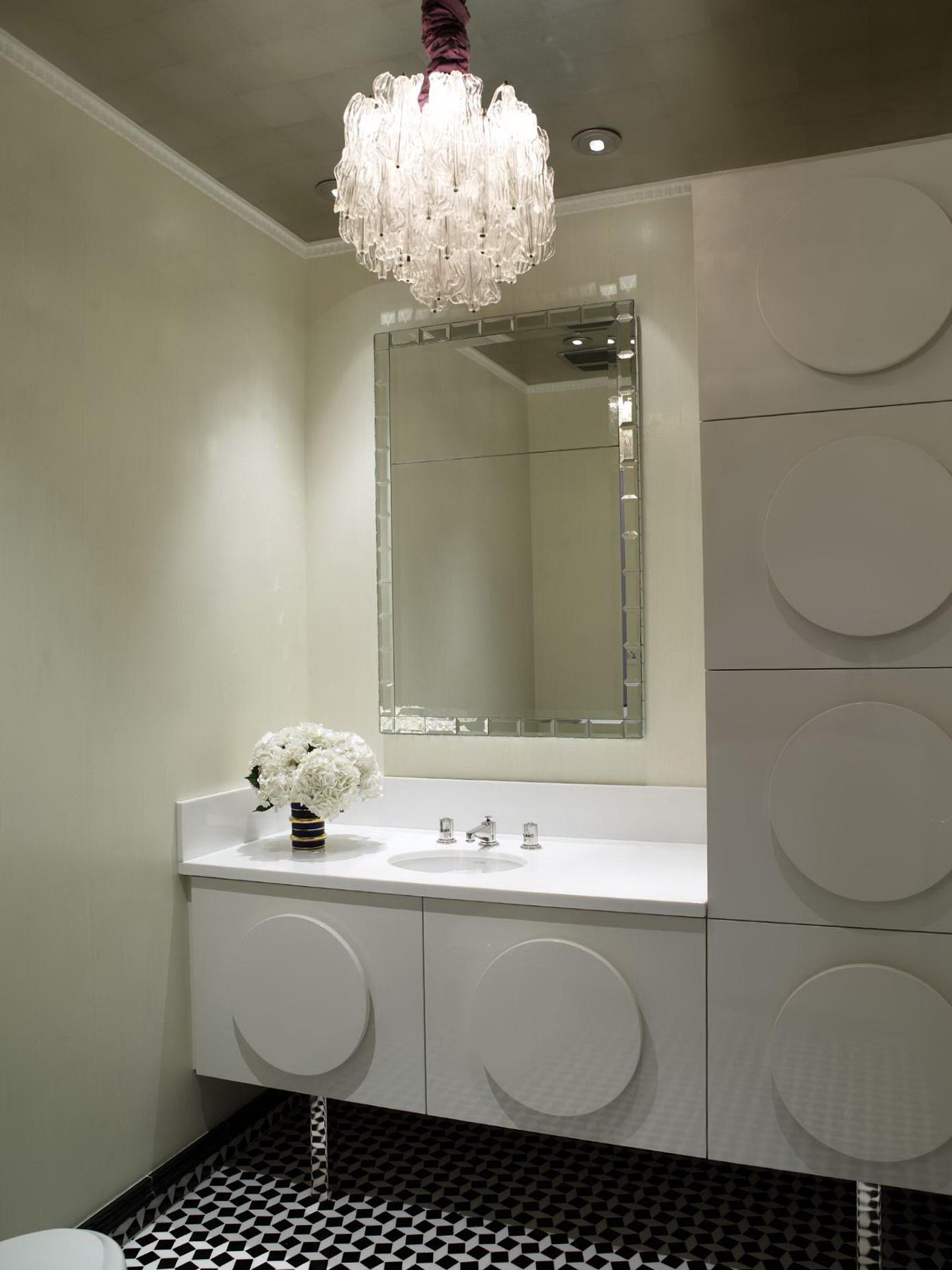 Chandelier In Small Bathroom