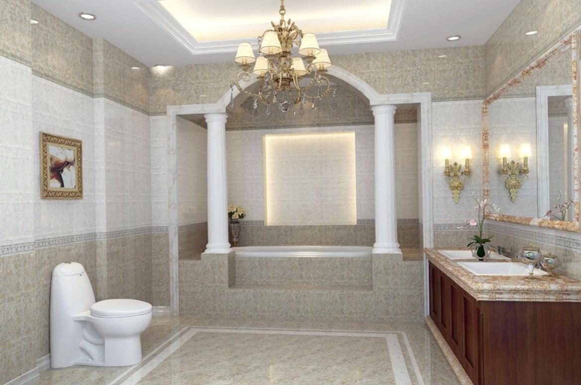 Crystal Chandelier In Bathroom