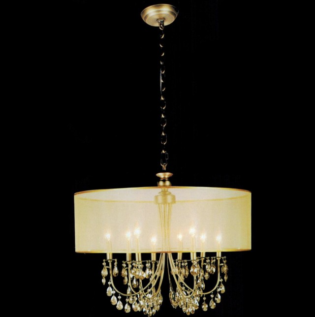 Crystal Chandelier With Organza Shade