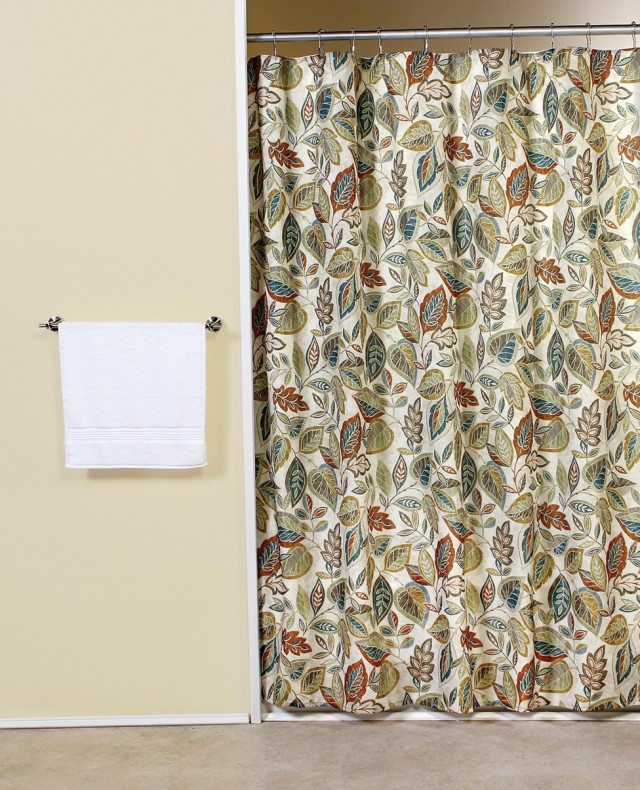 Fabric Shower Curtains With Leaves