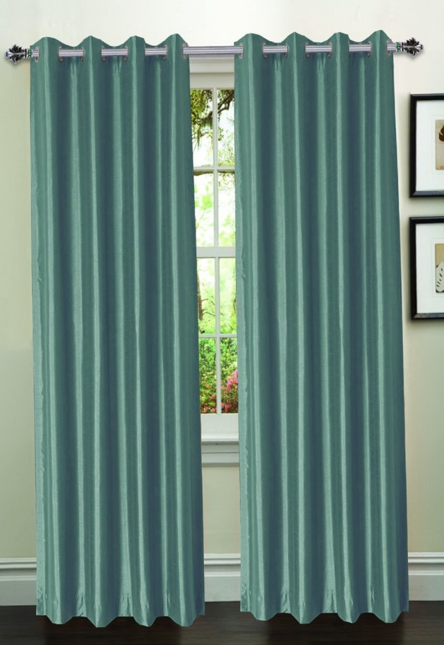 Faux Silk Curtains Silver