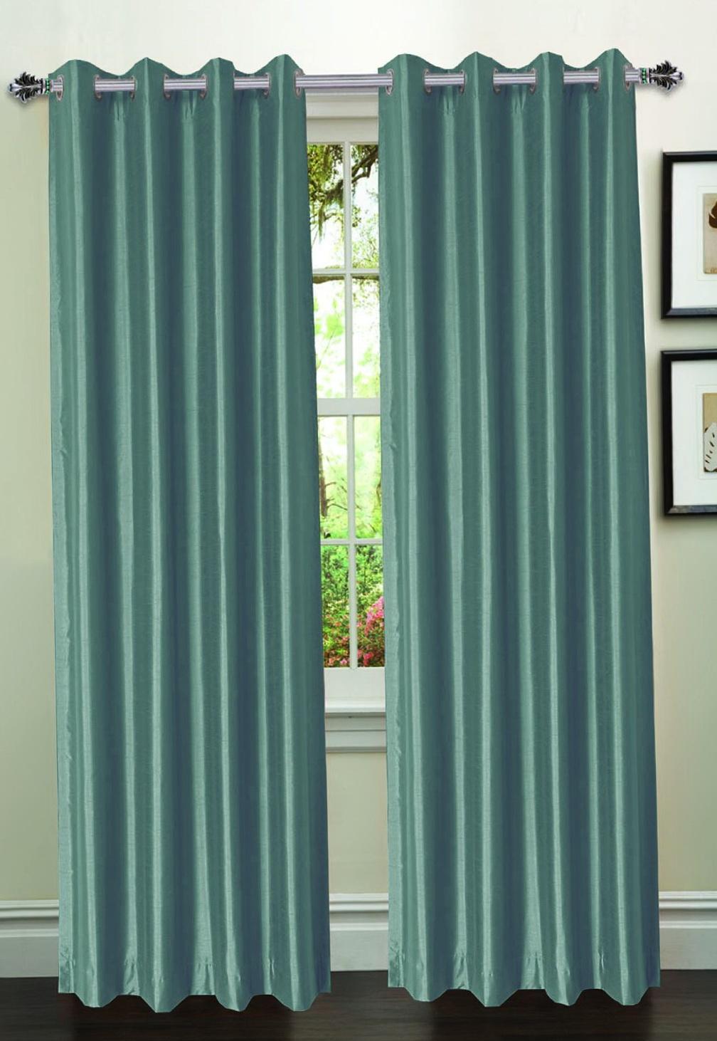 Faux Silk Curtains Silver