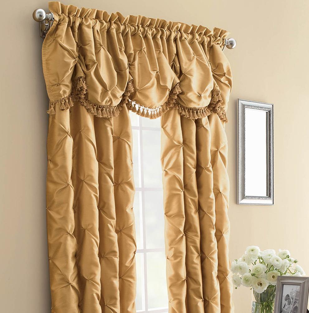 Gold Faux Silk Curtains
