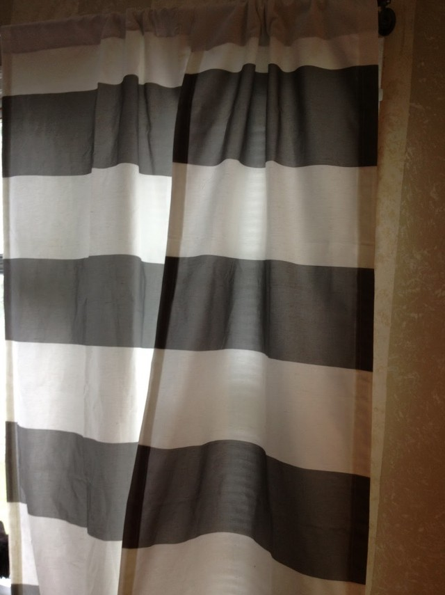 Gray And White Horizontal Striped Curtains