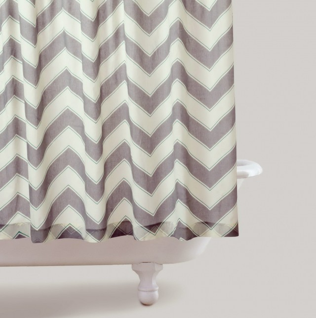 Gray And White Striped Shower Curtains