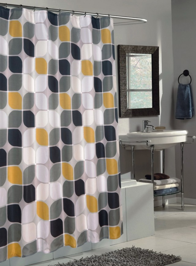 Gray And Yellow Shower Curtains