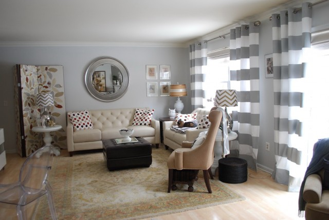 Grey And White Striped Curtains