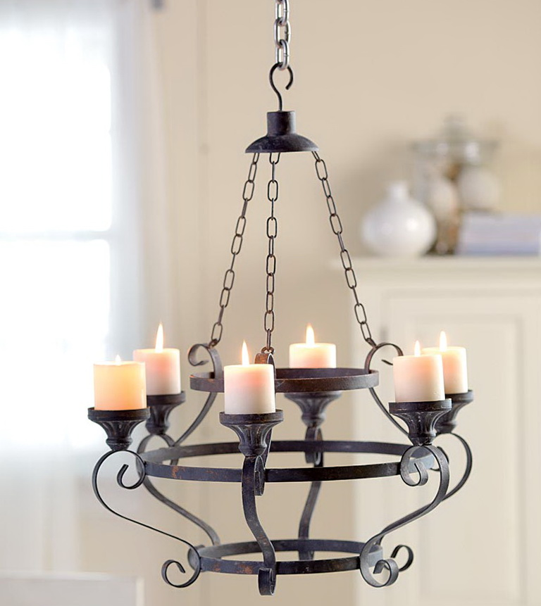 Iron Chandelier With Candles