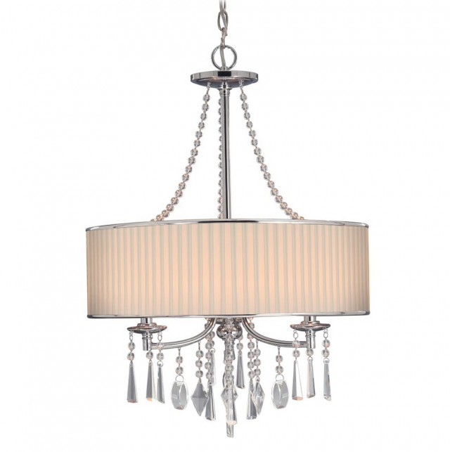 Large Drum Shade Chandelier With Crystals