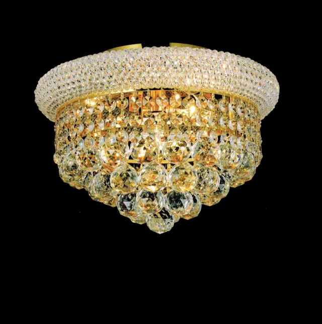 Large Flush Mount Crystal Chandelier
