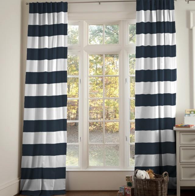 Navy Horizontal Striped Curtains