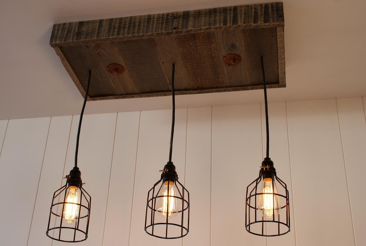Reclaimed Wood And Metal Chandelier