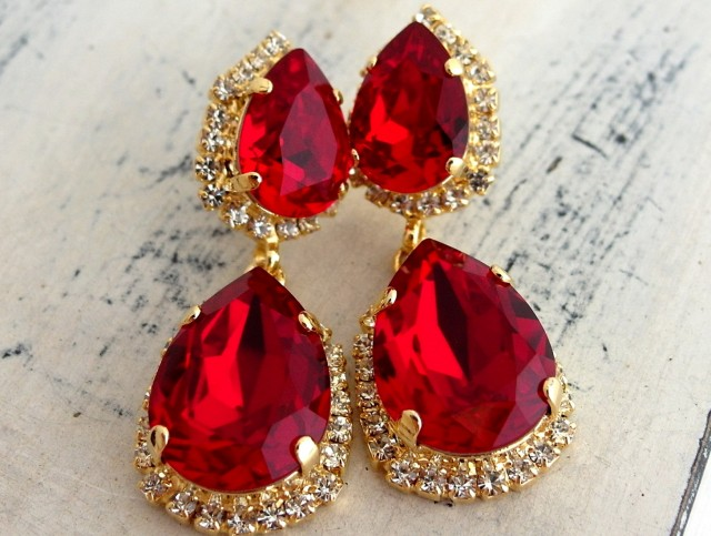 Red Swarovski Crystal Chandelier Earrings