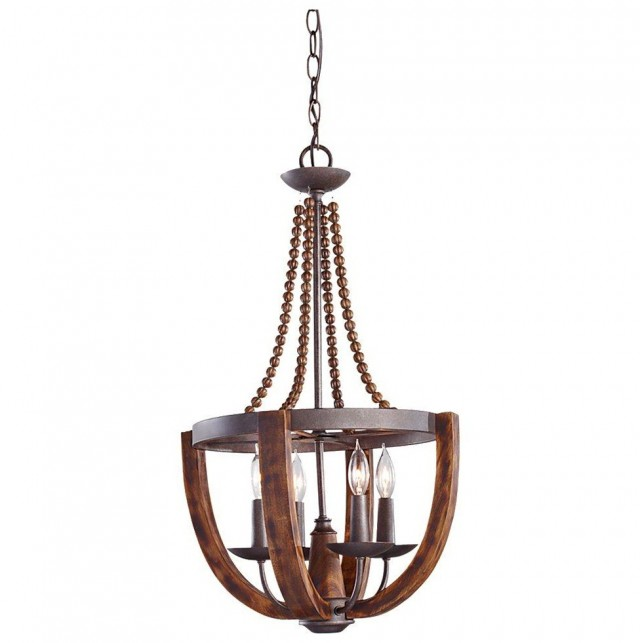 Rustic Wood And Iron Chandelier