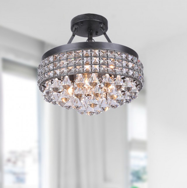 Semi Flush Chandelier Crystal