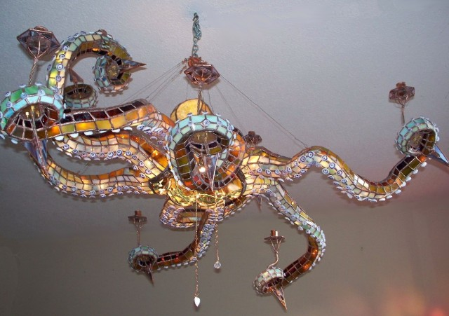 Stained Glass Octopus Chandelier