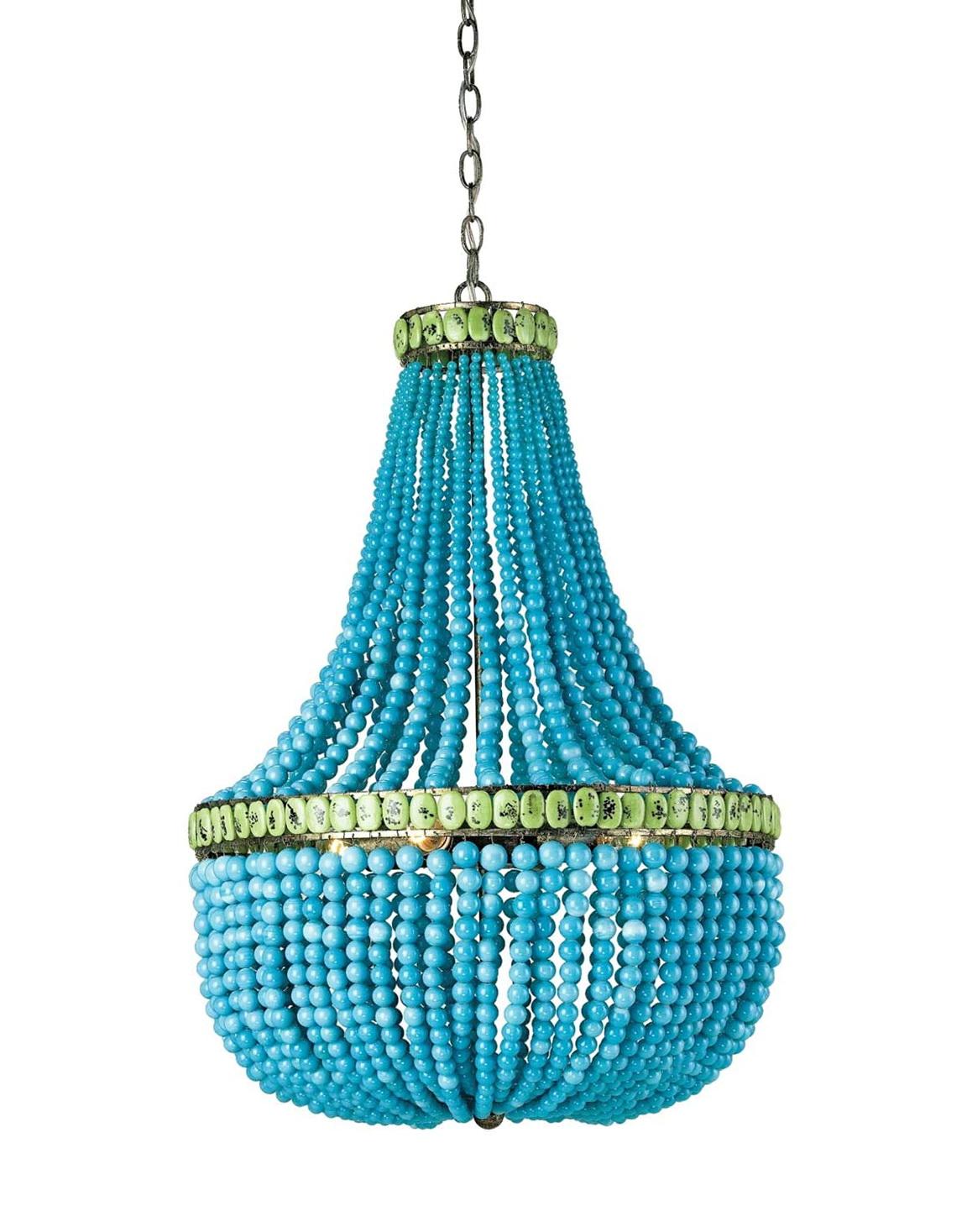 Turquoise Wood Bead Chandelier