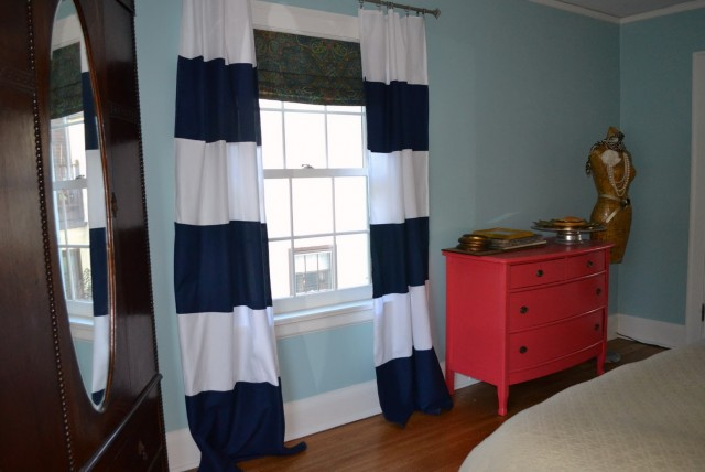 White And Navy Blue Curtains