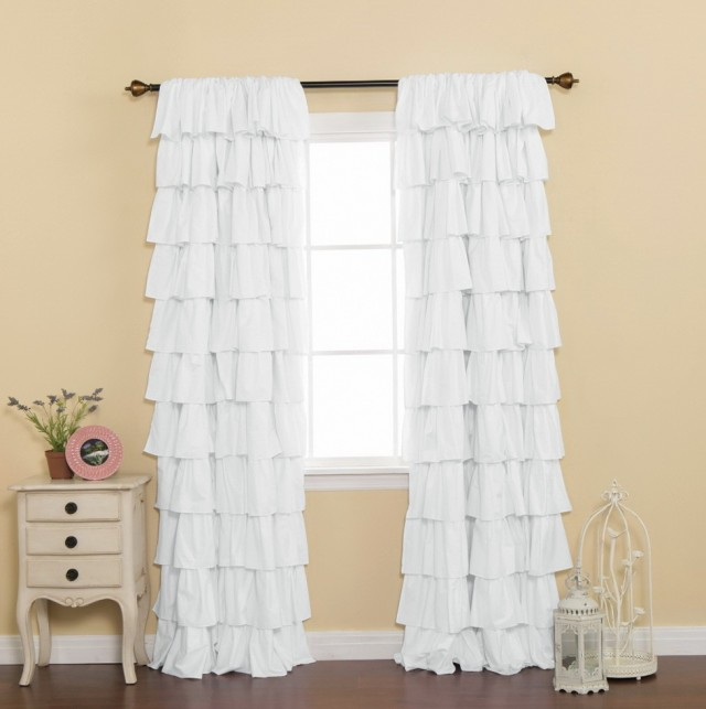 White Blackout Curtains Short
