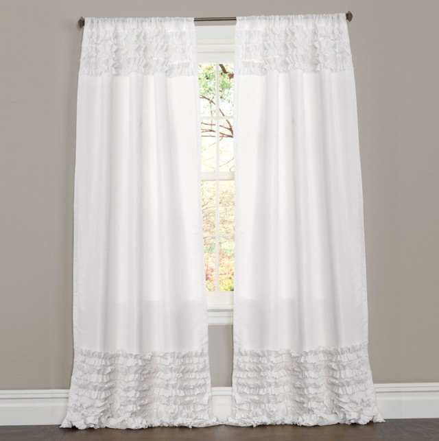 White Ruffle Curtains 96 Inch