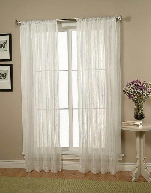 White Sheer Curtains Living Room