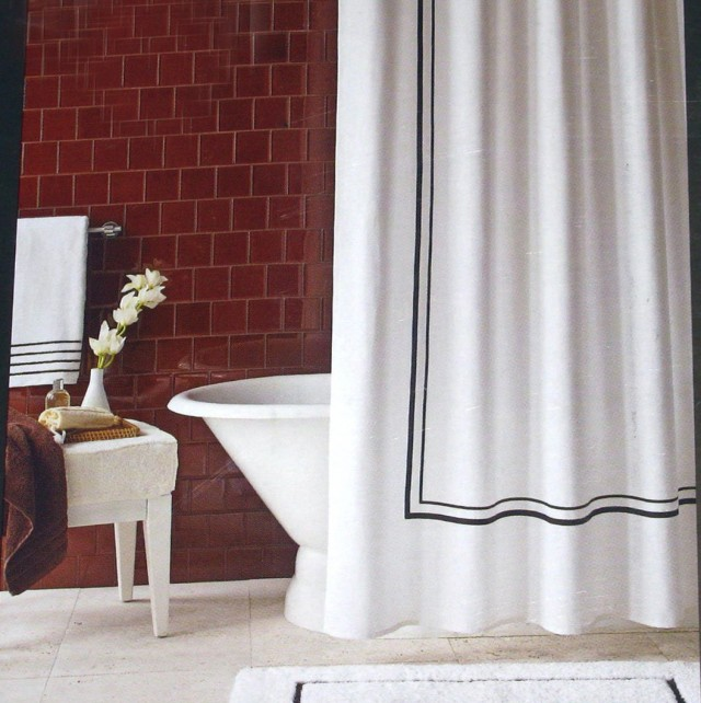 White Shower Curtain With Black Border