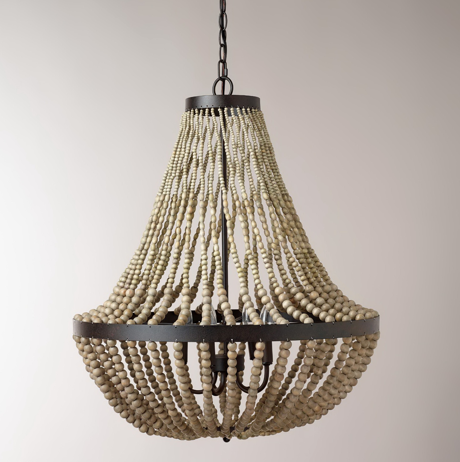 Wooden Beaded Chandelier For Sale