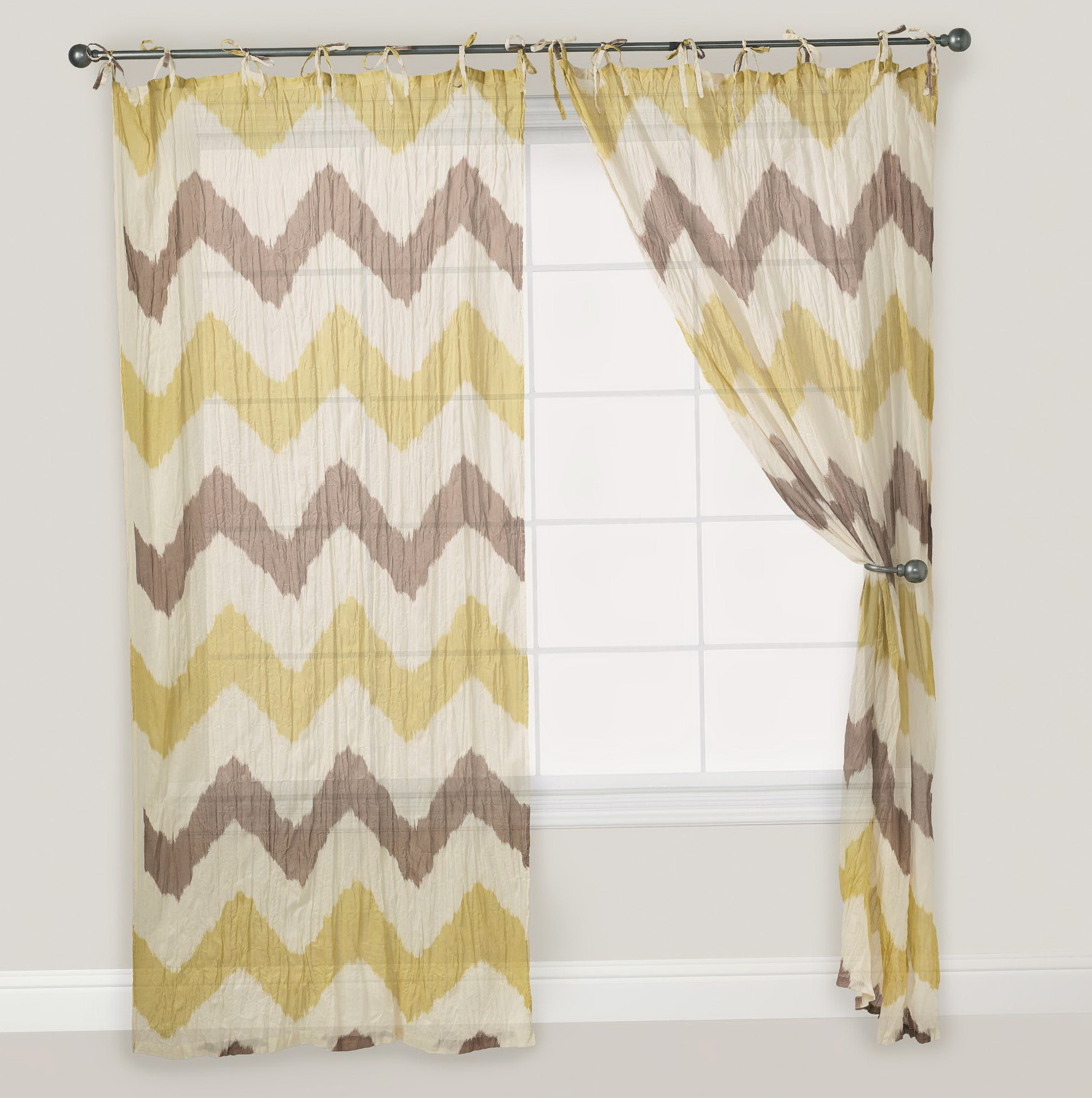 Yellow And Gray Chevron Curtains