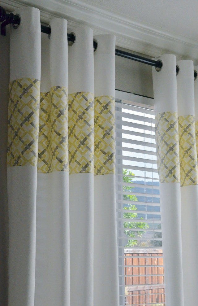 Yellow Gray And White Curtains