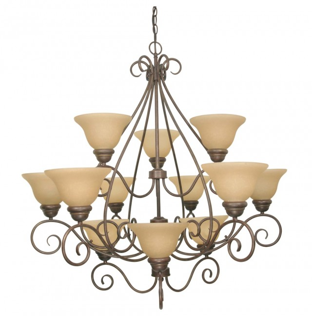 12 Light Chandelier Bronze