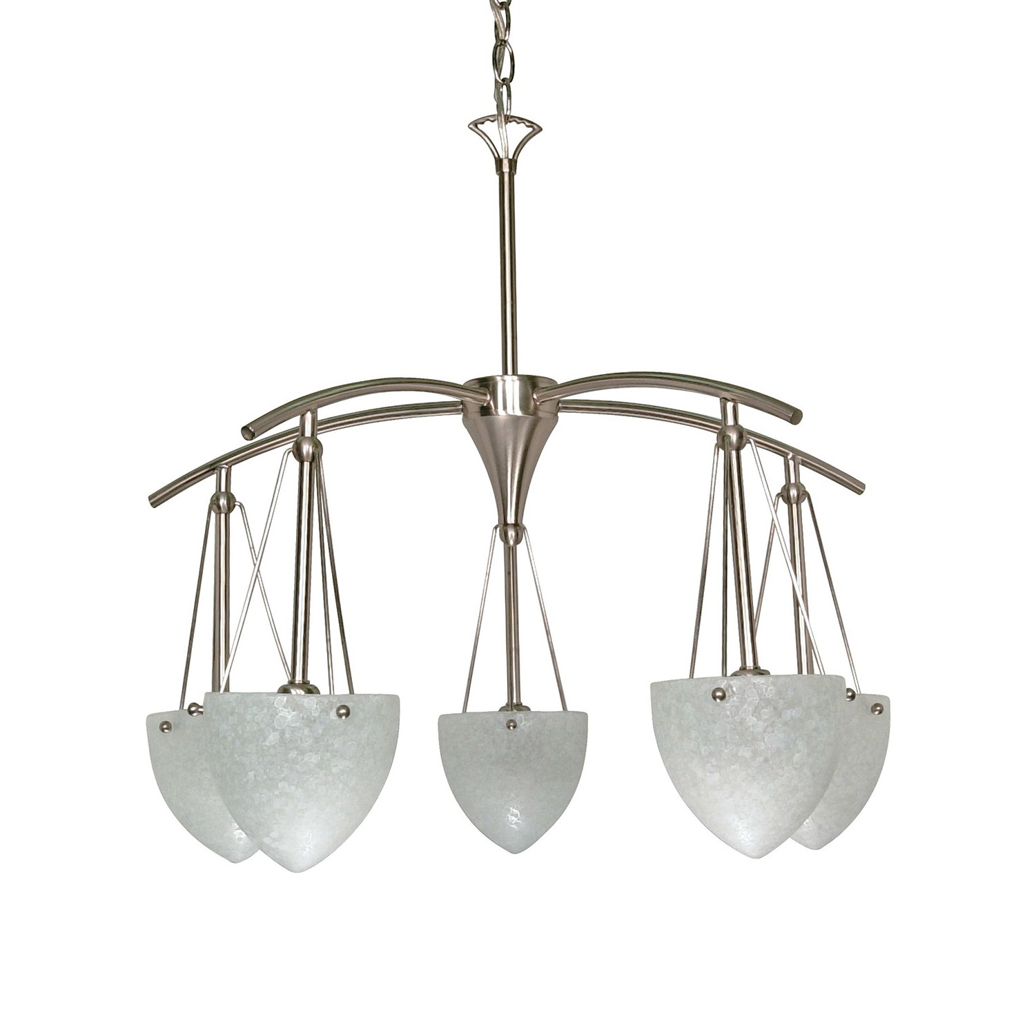 5 Light Chandelier Brushed Nickel